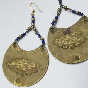 Big 1960's Brass Dangle Hippie Earrings